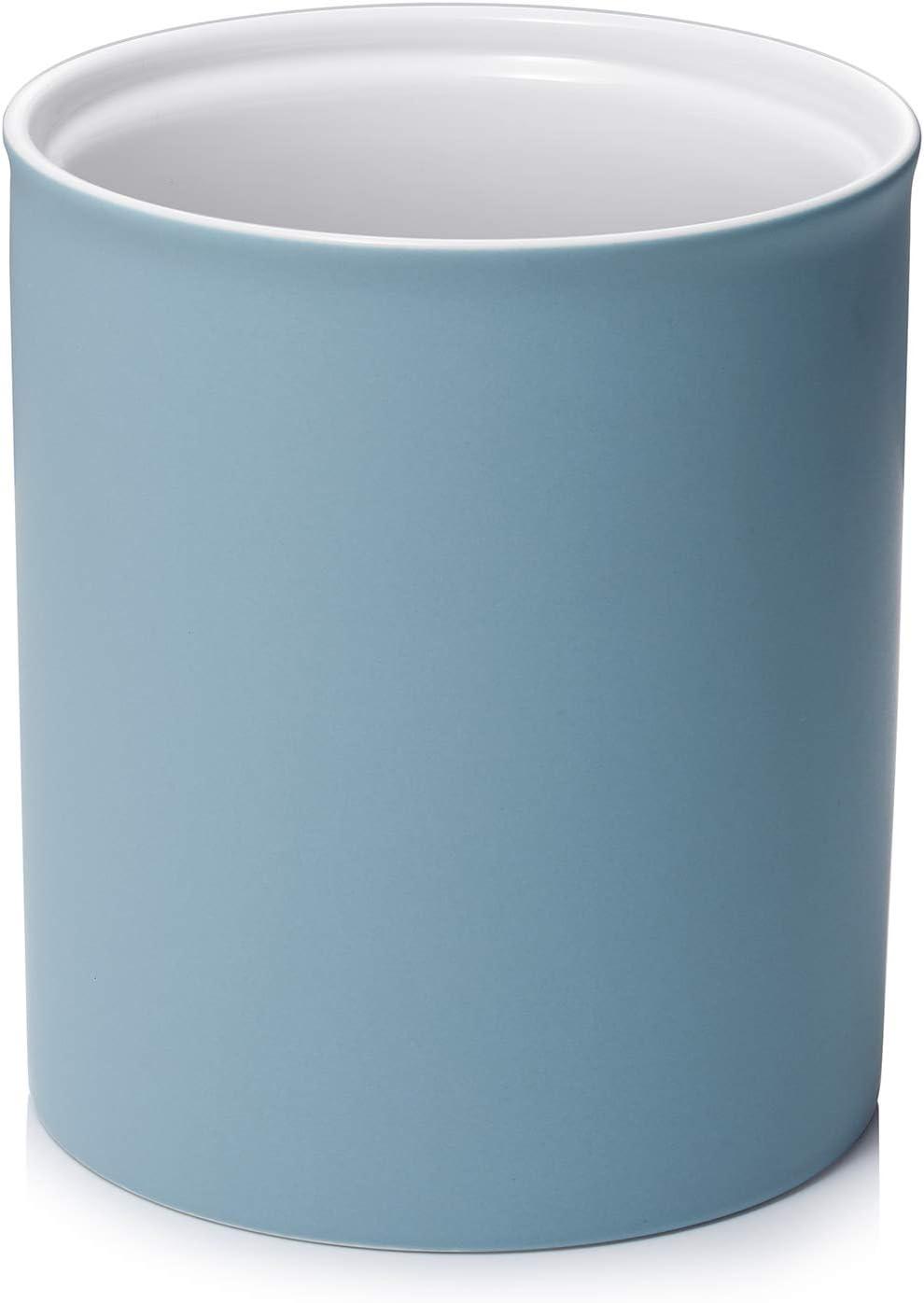 """DOWAN Kitchen Utensil Holder, 7.2"""" Large Utensil Holders for Countertop, Heavy Ceramic Utensil Crock, Anti Slip & Scratch Cork Bottom, Utensil Crock for Home Décor, Matte Blue"""