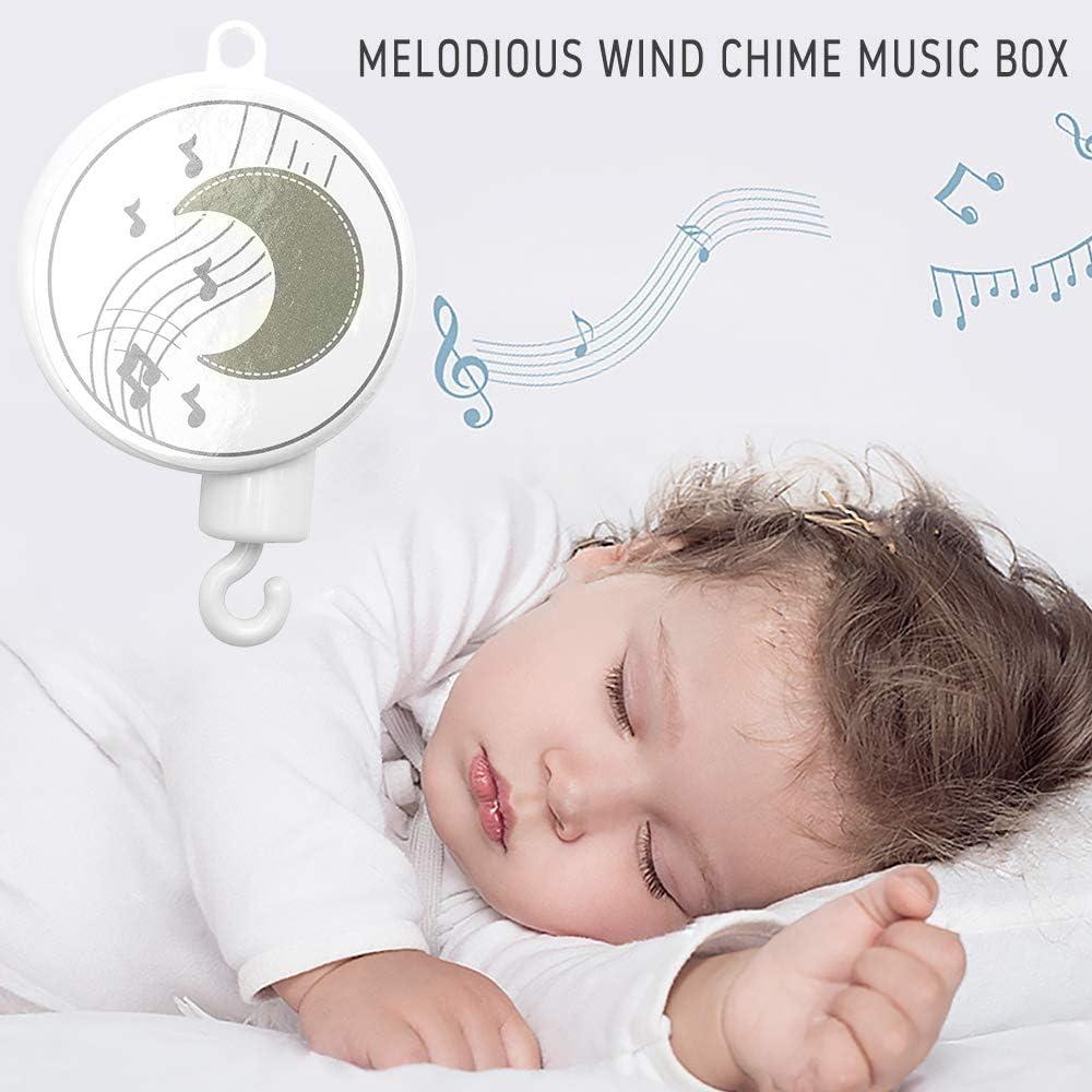 Stile 2 Relax love Giostrina Musicale Neonati per Culla con Bambole Pelose a Procione Nuvole Luna Stelle Giocattolo Lettino Neonati