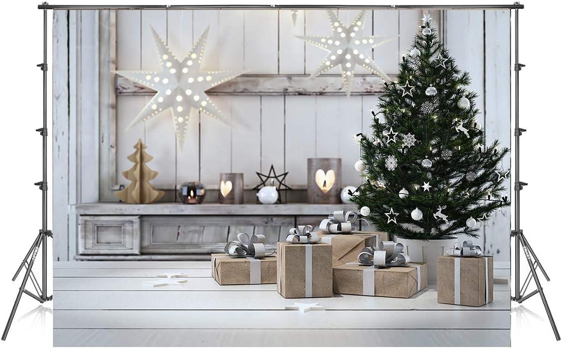 10x6.5ft Christmas Tree Gift Photography Backdrops White Wood Floor Photo Background Xmas Microfiber Soft Fabric Backdrop for Photoshoot