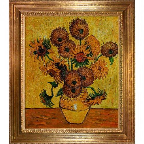 overstockArt Van Gogh Vase with Fifteen Sunflowers Painting, Vienna Wood Frame, Gold Leaf ()