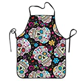 Kitchen Apron Waterproof for Restaurant Premium Quality Unisex Sugar Skulls Colored Pattern Professional Chefs Bib Ideal to Cook, Bake, and Grill
