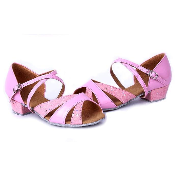 WYMNAME Mädchen Latin Tanzschuhe,Niedrigen Absätzen [Leise Unten] Leistung Ballroom Dance Schuhe Indoor-Sandalen-Rose Rot Fußlänge=17.8CM(7Inch)