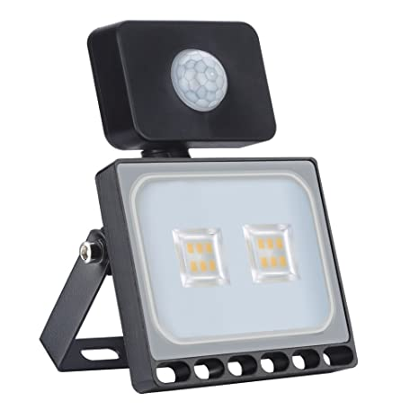 10W Blanco Cálido Foco LED Sensor Movimiento Reflector Impermeable SMD IP67 Lámpara PIR Seguridad Lámpara LED