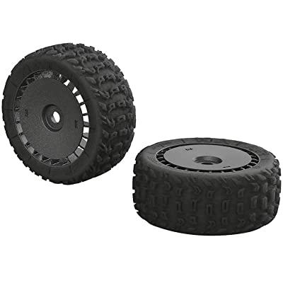 ARRMA Katar T 6S Rc Truck Tires with Foam Inserts, Mounted (Set of 2): AR550048, Black: Toys & Games