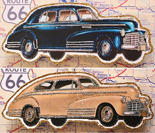 Vintage Ad Car (TWO Vintage Ad Classic Car Ornaments~Glittered Wooden Decoration~1942 Chevy Fleetline)