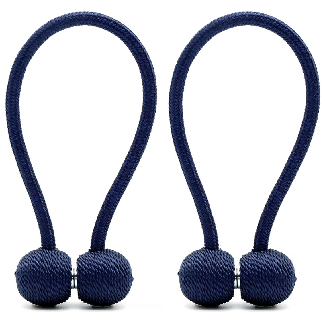 DEZENE Magnetic Curtain Tiebacks,The Most Convenient Drape Tie Backs,Decorative Rope Holdbacks/Holder for Window Sheer and Blackout Panels,Set of 2,Navy Blue