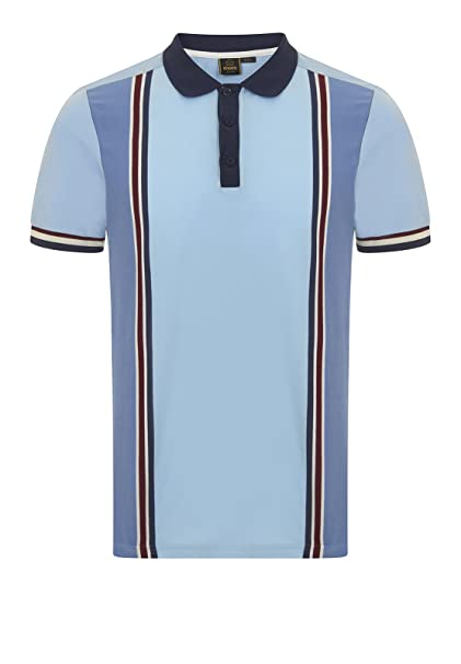 Merc of London Rogan, Vertical Stripe Print Polo, Azul (Cool), XS ...