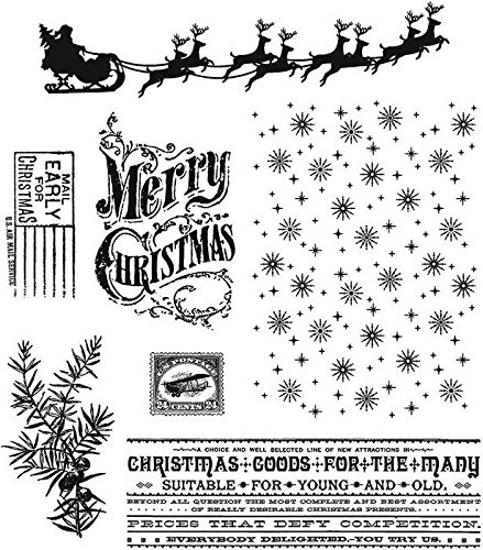 Stampers Anonymous Tim Holtz Cling Rubber Stamp Set, Christmas Nostalgia, 7 by 8.5-Inch by Stampers Anonymous