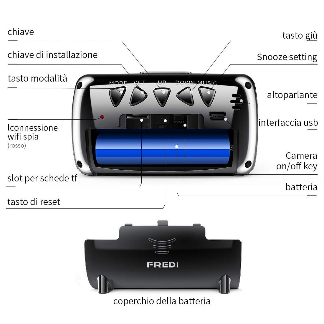 Fredi 1080P Wifi Cámara Espía orologio-sveglia HD cámara oculta Mini microcamere cámara de vigilancia cámara de seguridad inalámbrica con visión ...
