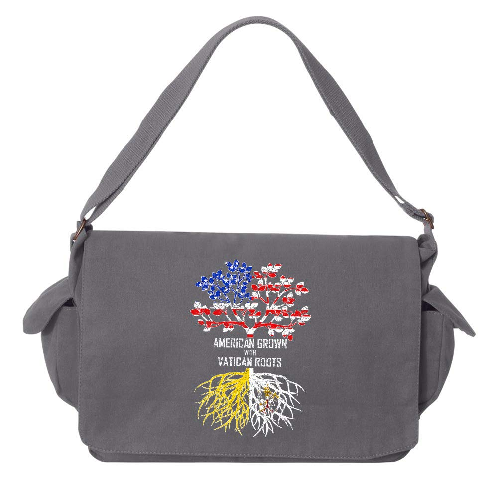 Tenacitee American Grown with Vatican Roots Grey Brushed Canvas Messenger Bag