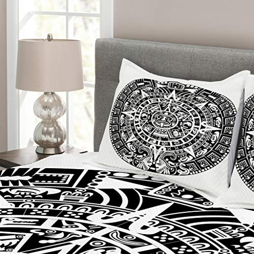 Lunarable Aztec Bedspread, Mayan Calendar End of The World Prophecy Mystery Cool Culture Design Print, Decorative Quilted 3 Piece Coverlet Set with 2 Pillow Shams, King Size, White Charcoal