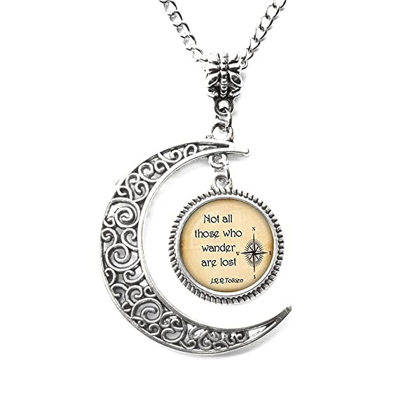 Amazon Charm Crescent Moon Not All Those Who Wander Are Lost