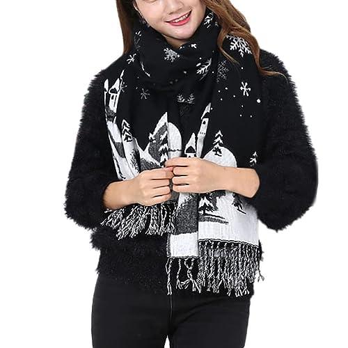 Zarupeng Las mujeres de invierno de imitación de cachemira borlas Navidad copos de nieve bufandas ca...