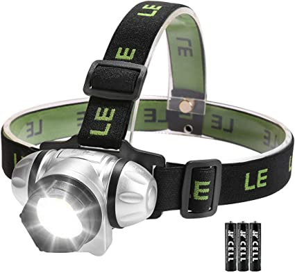 LE Lightweight LED Head Torch Water Resistant Headlamp 4 Lighting Modes Battery