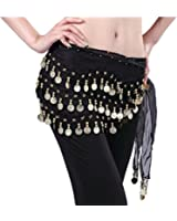 Women Chiffon Dangling 3 Rows Gold Coins Hip Scarf Wrap Belt for Belly Dancing
