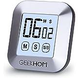 Geekhom, timer da cucina magnetico, timer con allarme touch screen digitale, timer e cronometro, ampio display LCD timer per cucina, cucina