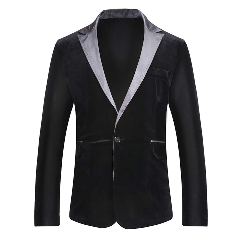 Mens Peaked Lapel One Button Velvet Black Tuxedo Blazer ...