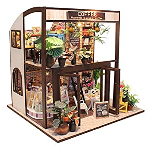 BEAUTY'S CASTLE DIY Time Travel Cafe Wooden Dollhouses With LED Lights Miniature Furniture Kit 3D Puzzle Crafts Toy And Wooden Frame For Creative Birthday Gift Home Decor
