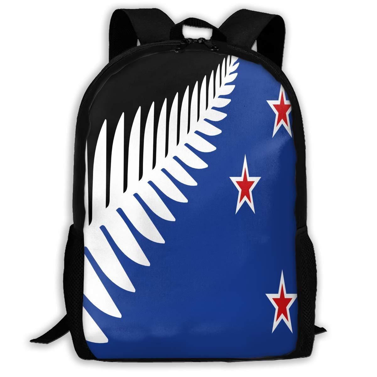 dewdferf Casual Backpack New Zealand Flag 3D Printing School Bags for Boys Girls Unisex Adult Shoulder Bag Daily Bag