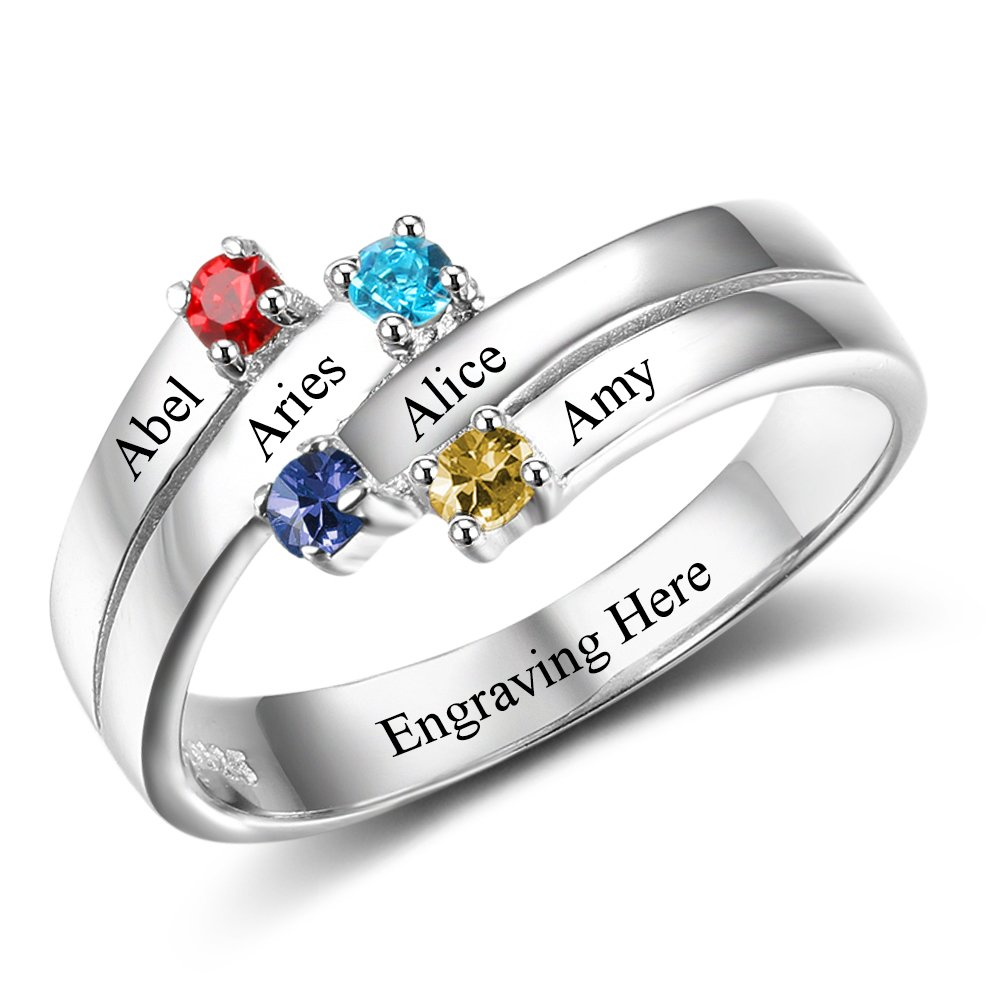Love Jewelry Personalized Mothers Day Rings with 4 Simulated Birthstones 4 Names Family Daughters Promise Rings for Her (8)