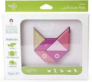 6 Piece Tegu Travel Pal Magnetic Wooden Block Set, Kitty