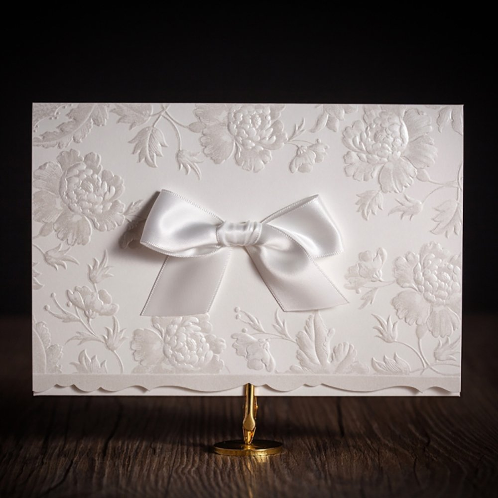 Classic European Embossed Flowers with Ribbon Bowknot Wedding Invitations Card Elegant Laser Cut Cardstock CW5199 (100)