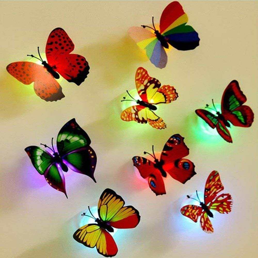 12 PCS Colorful Stick-on Mood Light LED Butterflies Night Light Wall/Window Sticker Toy for Kids Bedroom