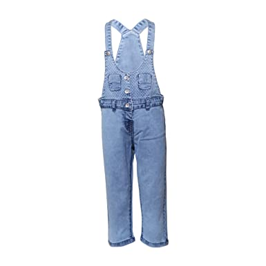 d1d84f8c957 Tales   Stories Baby Girls Light Blue Denim Dungarees  Amazon.in  Clothing    Accessories