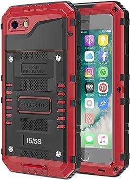 seacosmo Étanche Coque pour iPhone 5/5S/SE, Étui munie d'un Protège-écran [Antichoc] Militaire Double Couche de Protection Robuste Métal Bumper Rigide ...