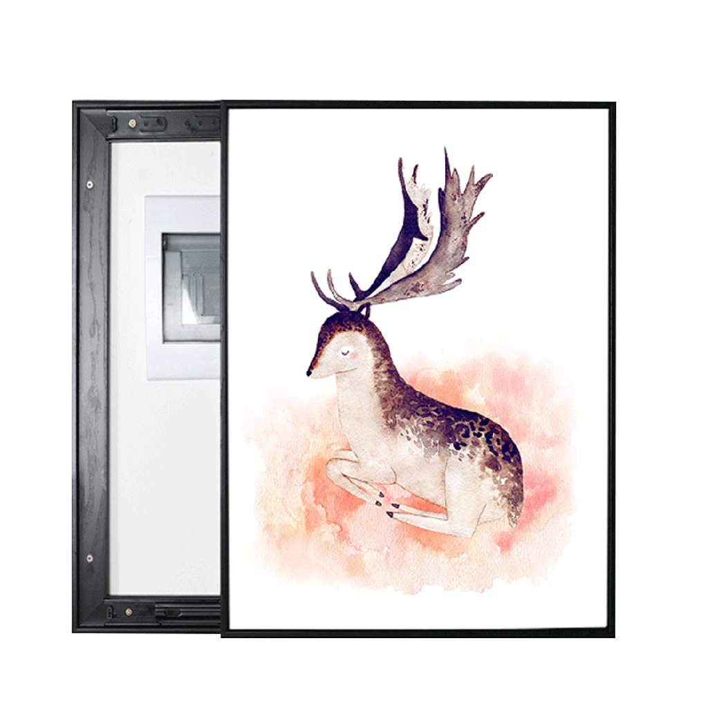 LIUDONGXIN Electric Meter Box Decorative Painting Modern Simple Weak Electric Box Mural Restaurant Painting (Color : Black, Size : 6050cm 5040cm-Push Right) by LIUDONGXIN