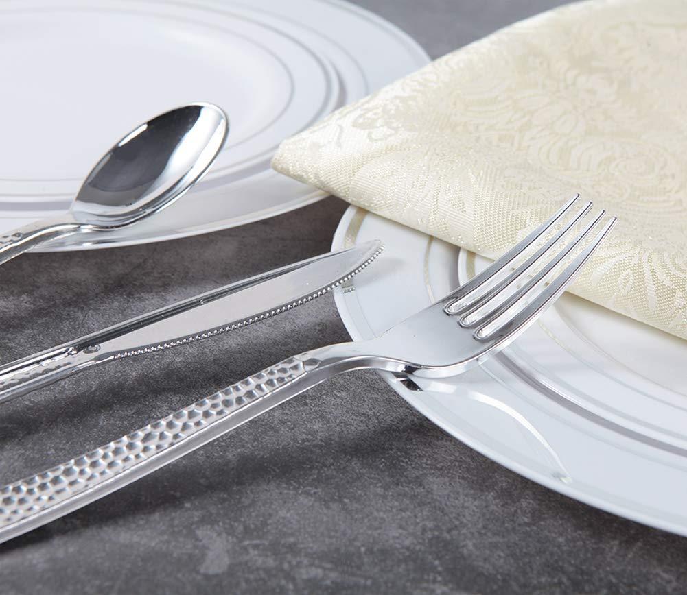 180 pieces Silver Plastic Silverware, Party Supplies Plastic Flatware, Plastic Silver Hammered Cutlery for Wedding Enjoylife (Silver) by EnjoyLife Inc (Image #4)