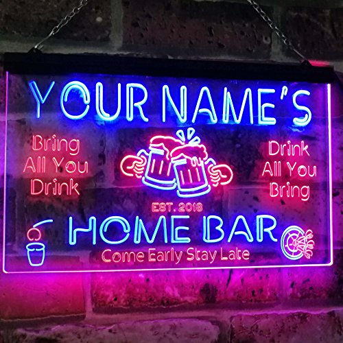 AdvpPro 2C Personalized Your Name Custom Home Bar Beer Established Year Dual Color LED Neon Sign Red & Blue 12'' x 8.5'' st6s32-p1-tm-rb by AdvpPro 2C