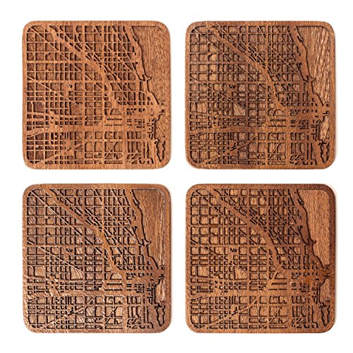 Chicago Gift (O3 Design Studio Chicago Map Coasters, Set Of 4, Sapele Wooden Coaster With City Map,)