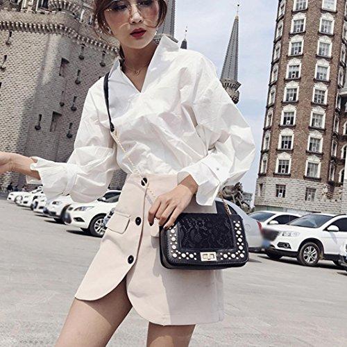 perla bandolera cruzado bolsa bandolera cuero bolsa sólida moda Negro monedero disfraz bolsa teléfono mujer bolsa de de Bolsas negro IHqwOO