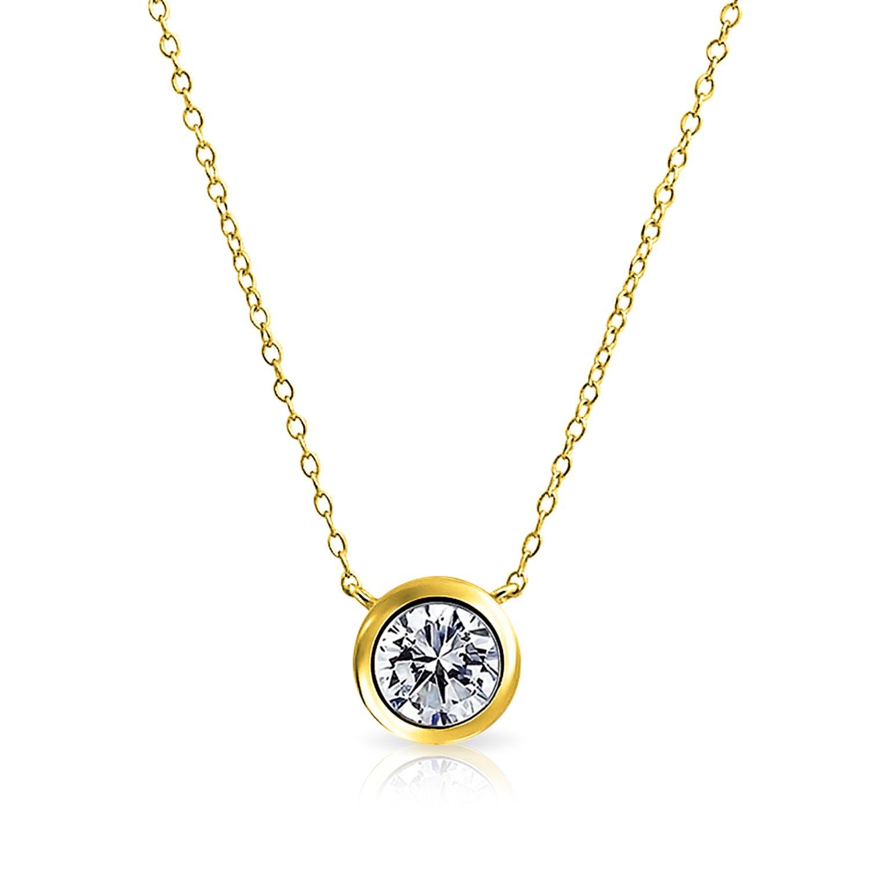 9ba85d75f442 Amazon.com  1 Ctw Solitaire Round Cubic Zirconia CZ Bezel Set Slide Pendant  Necklace For Women 14K Gold Plated Sterling Silver  Jewelry