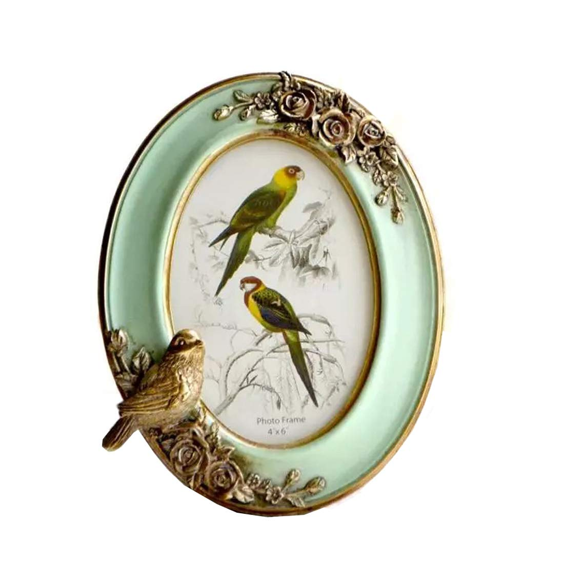 SIKOO Vintage Picture Frame 4x6 Oval Tabletop and Wall Mounting Photo Frame for Home Decoration, Green (Bird)