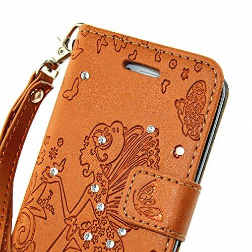 Cozy Hut Hülle für iPhone 4 4S,Magnetverschluss Prägung Schmetterlings Blumen Fee Engel Mädchen Muster mit Lanyard Strap Design PU Leder und Bling Strass Kristall Glitter Tasche Weiche Silikon Schutzh