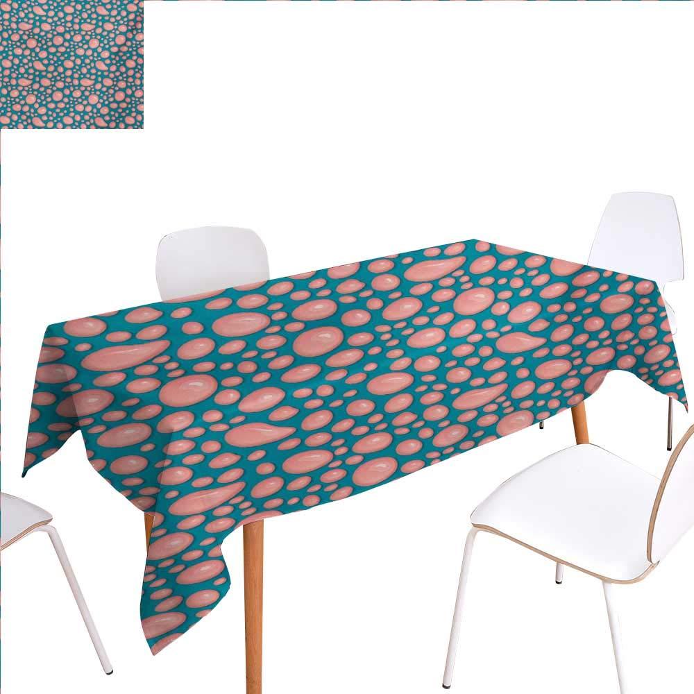 familytaste ペールピンク 長方形テーブルクロス 抽象的なバブル球体 色詳細 モダンで鮮やかな長方形 しわになりにくい テーブルクロス 50インチx80インチ ペールピンク ペールブルー バイオレット W60