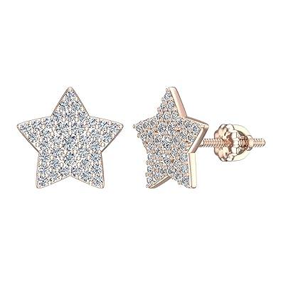 172451886 Amazon.com: Diamond Earrings Star Shape Glamorous Diamond Cluster Studs 14K Rose  Gold - Screw Back Posts (0.50 carat total): Jewelry