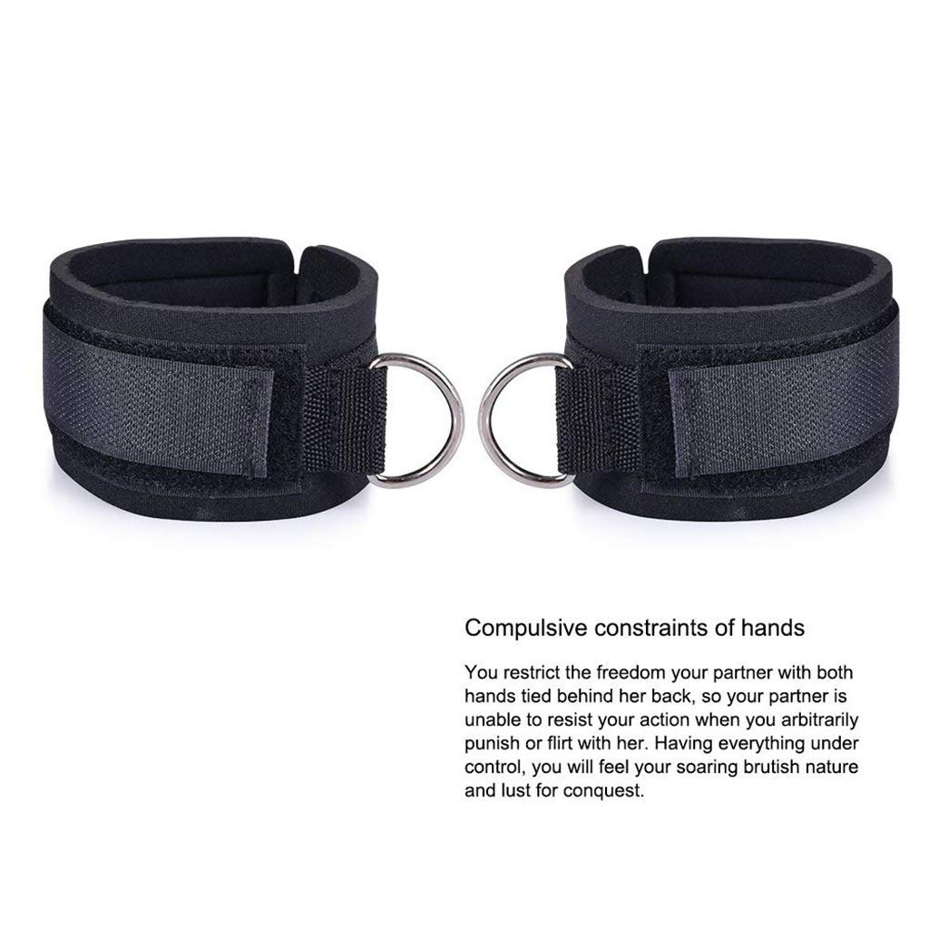 Fetish Bed Restraint Kit with Hand Cuffs Ankle Cuff Bondage Collection for Male Female by A&Dan (Image #3)