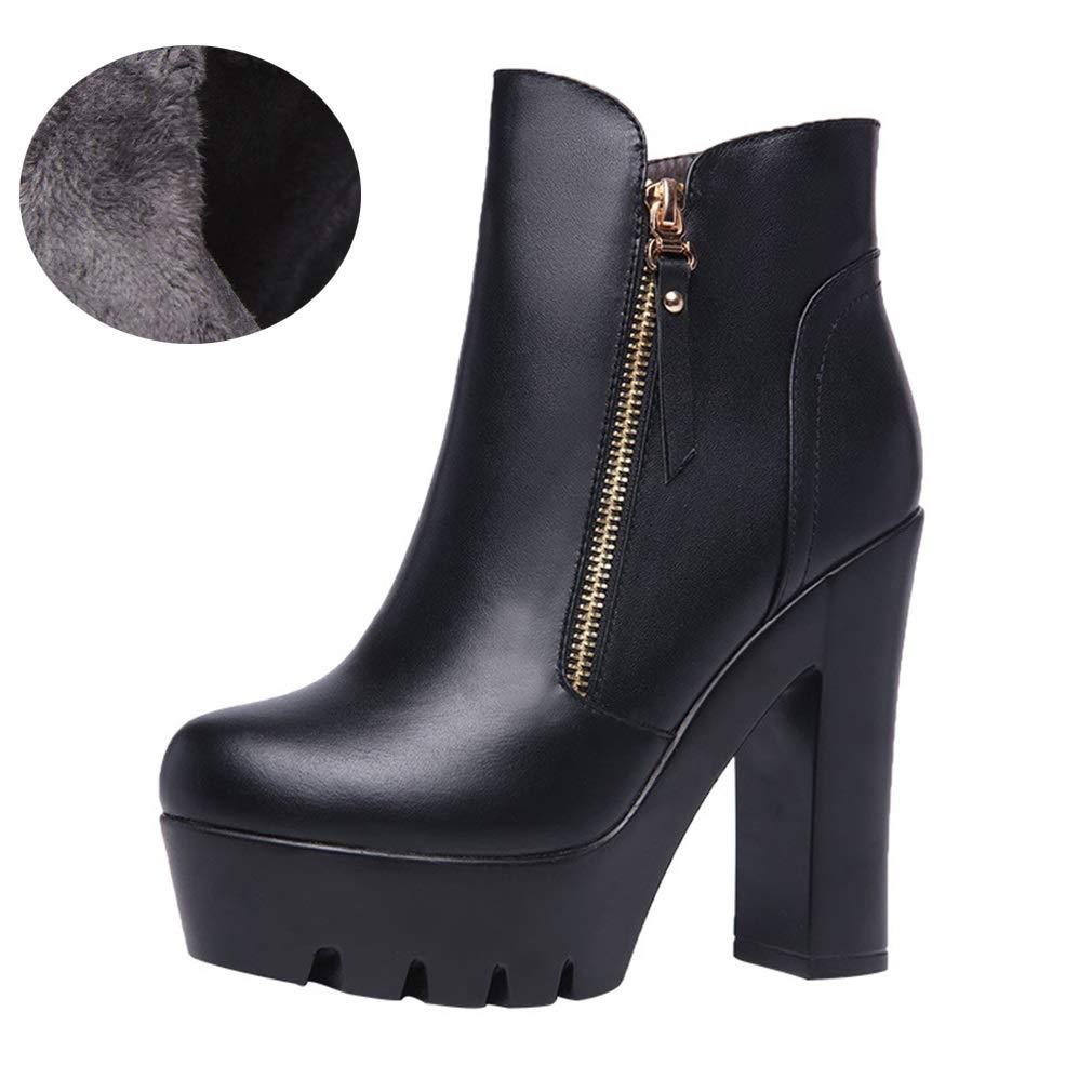 YAN Frauen Stiefeletten, Schuhe Frau Echtes Leder Schwarze Stiefeletten Winter Winter Winter Warme Schnee Ferse Stiefel bd3fa8
