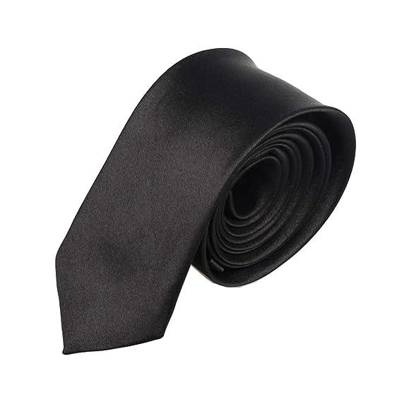 Corbata negra angosta sólida para hombres Corbata lisa delgada ...