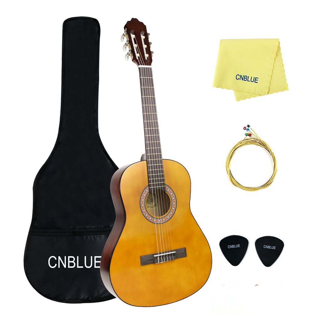 Classical Guitar Acoustic Guitar 4/4 Full Size 39 inch Nylon Strings Guitar Starter Kits for Beginners Students