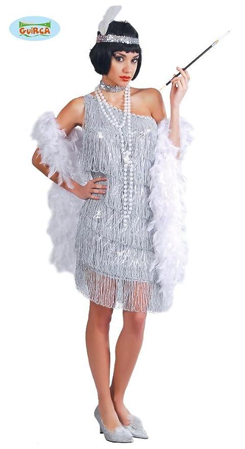 79cd2efd0f39 Guirca- Costume Charleston Anni '20/'30, Colore Argento, Taglia Unica