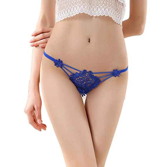 Susenstone Las mujeres flores encajes tangas tanga tanga bragas ropa interior ropa interior (Azul)