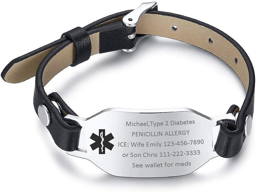 VNOX Personlized Medical Alert ID Stainless Steel ID Tag Geniune Leather Adjustable Buckle Clasp Bracelet