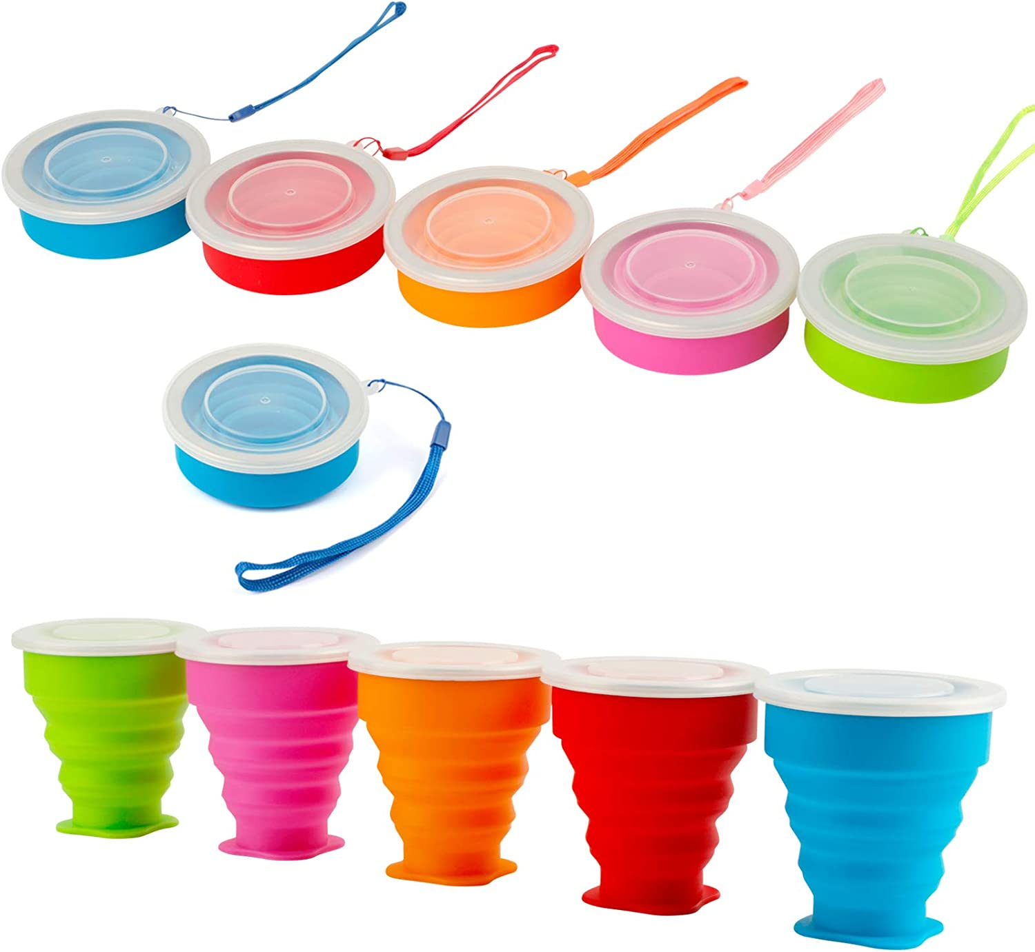 Congis Silicone Collapsible Travel Cup Camping Cup,Folding Camping Cup with Lids,BPA Free Portable Folding Travel Cup 5 Pack