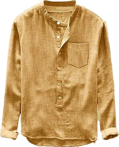 U/A Camisa para hombre otoño e invierno con botones de manga larga, suelta y transpirable: Amazon.es: Ropa y accesorios