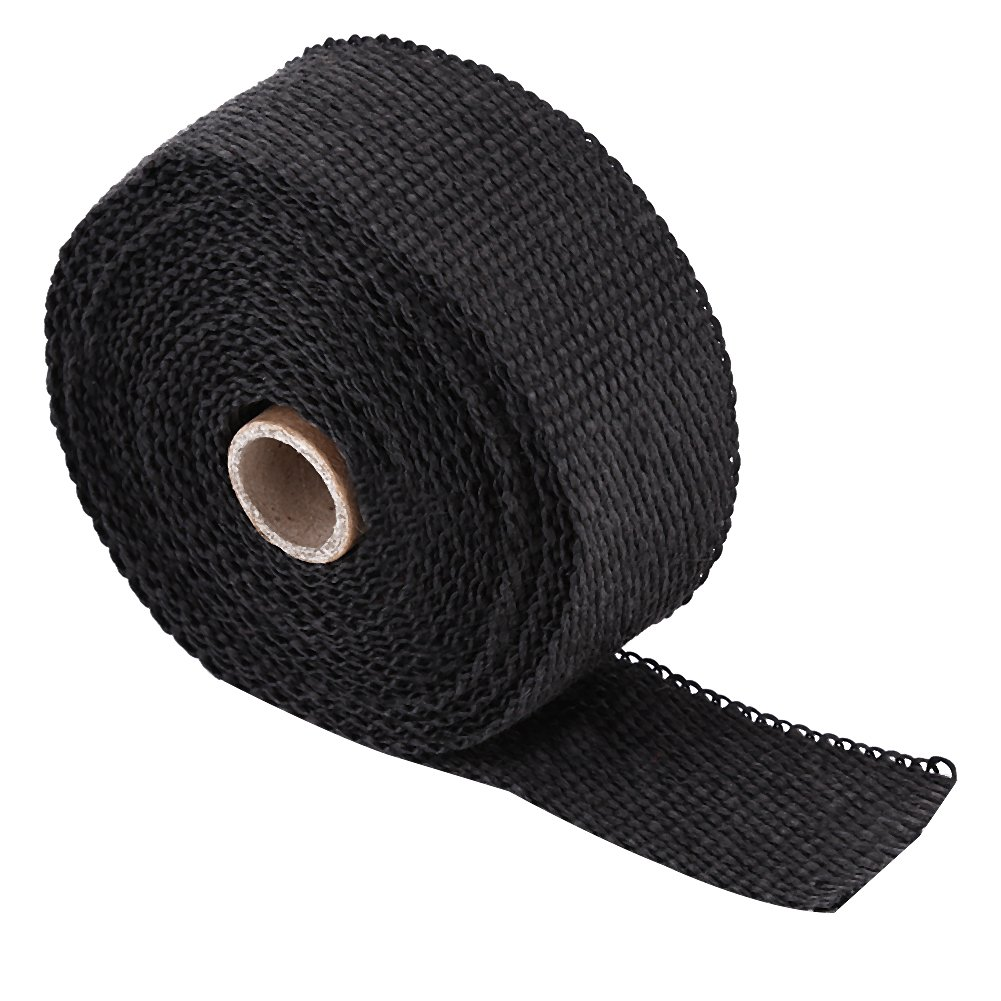 Qiilu 33FT Black High Heat Insulation Exhaust Pipe Wrap Tape Cloth for Car Motorcycle