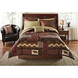 8 Piece Multi Color Patchwork Geometric Moose Printed Comforter Set Full Sized Dark Brown Golden Woods Rustic Lodge Cabin Animal Wildlife Bear Footprint Features Kids Bedding Teen Bedroom Polyester